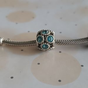 PANDORA Hollow Blue Gem Charm